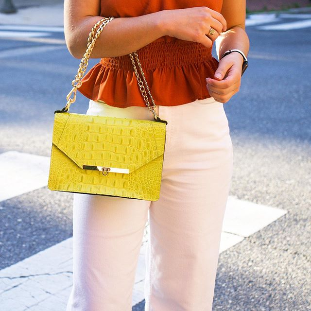 What says summer more than bright happy colors?!.. Ice cream by the beach maybe but not much else!🍦🌴New Post coming at ya soon featuring this neon yellow beauty by @angelavalentinehandbags!