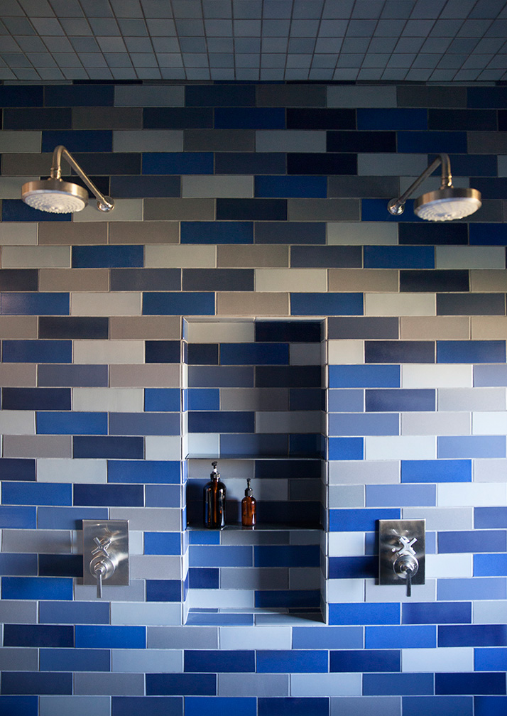 Master Bath Spa Double Shower with Multicolored Tile