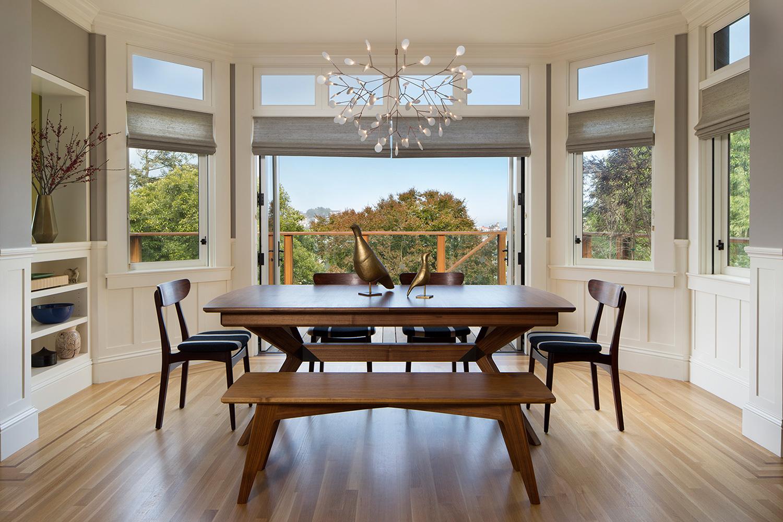 Dining Room with custom walnut table