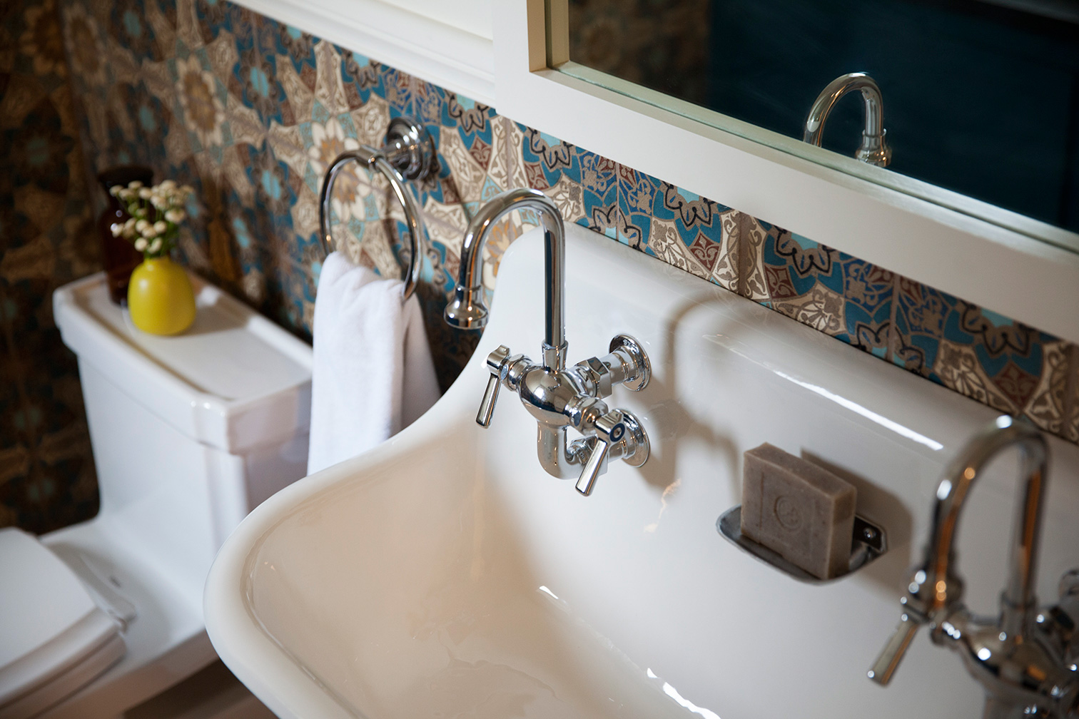 Powder Room with Custom Patterned Tile