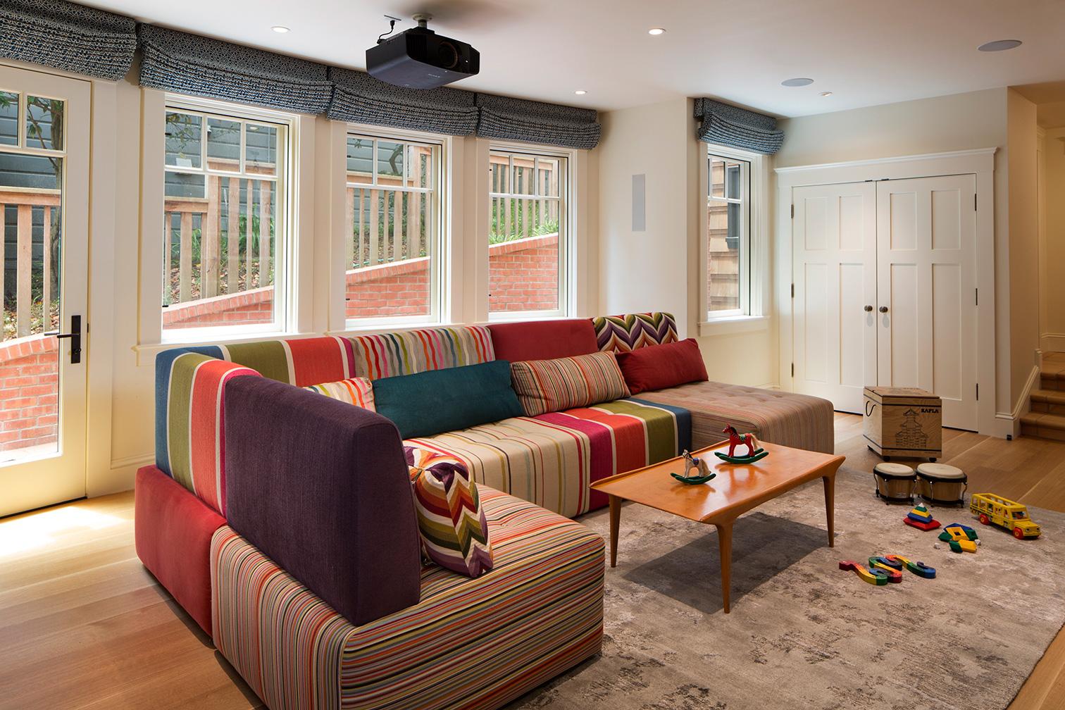 Family Playroom with Custom Multi-Colored Sofa