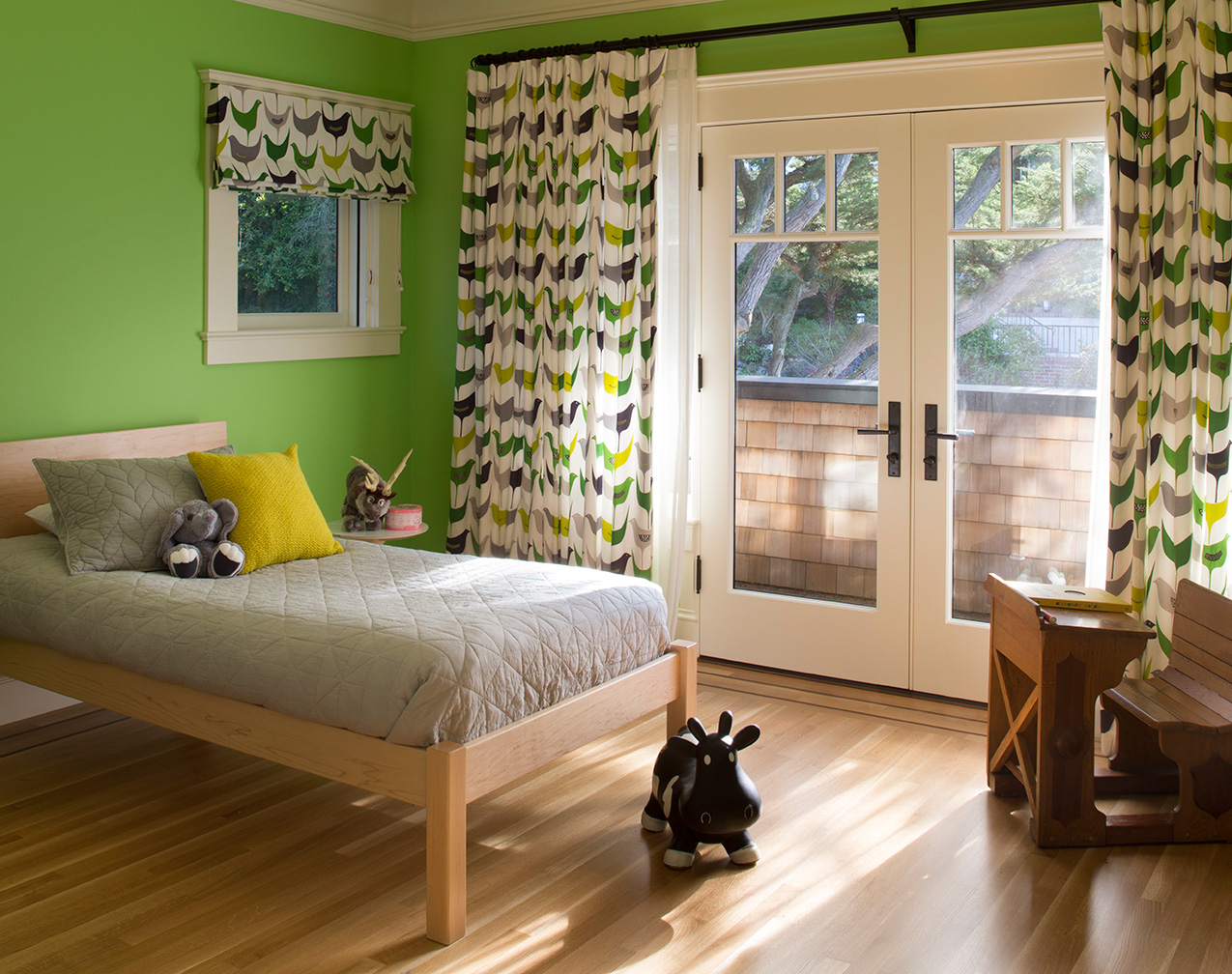 Bright Colored Kids Room with Patterned Drapery
