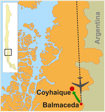 Fly to Santiago, Chile and connect first available flight to Coyhaique. - Balmaceda airport