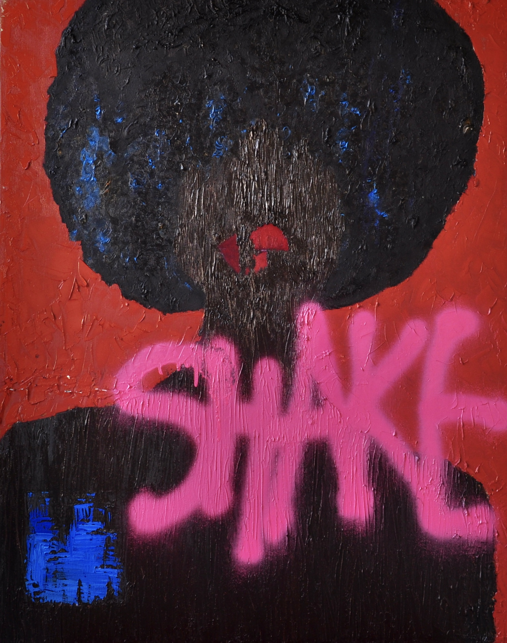 Shake  Oil and spray paint on canvas  28 in x 24 in