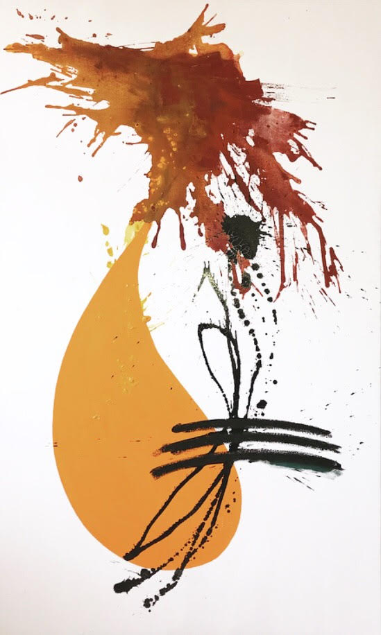 The Rooster  Oil, oil stick and acrylic on canvas  60 in x 36 in
