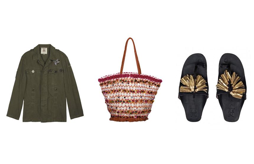 L-R: Military Jacket / Fiji Tuk Tuk / Scaramouche Sandals