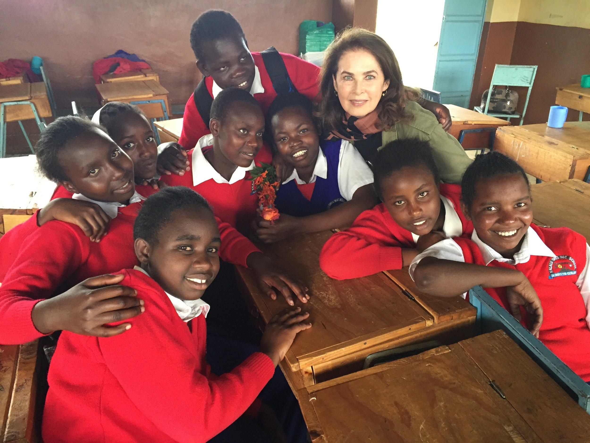 Dayle with schoolgirls in Kenya