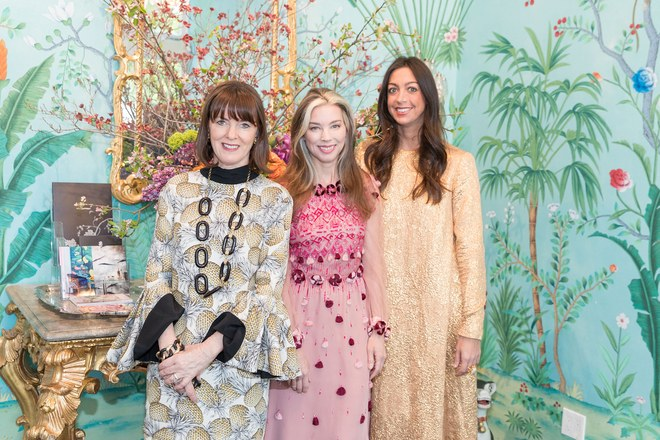 Allison Speer with Armarium's Alexandra Lind Rose and Trish Gregory at the Armarium and Flont pop-up at de Gournay in San Francisco / Photo: Drew Altizer