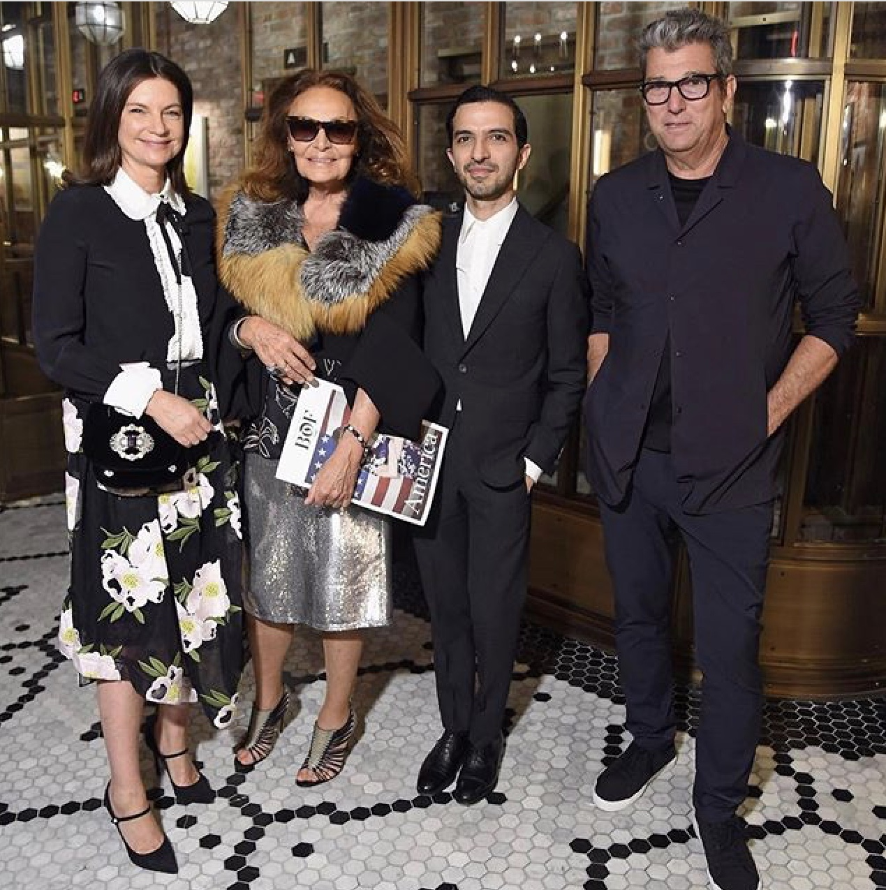 Dame Natalie Massenet, Diane Von Furstenburg, Imran Amed and Theory Chief Executive Andrew Rosen pictured in New York to celebrate the launch of BoF's American themed print edition / Photo: @bof