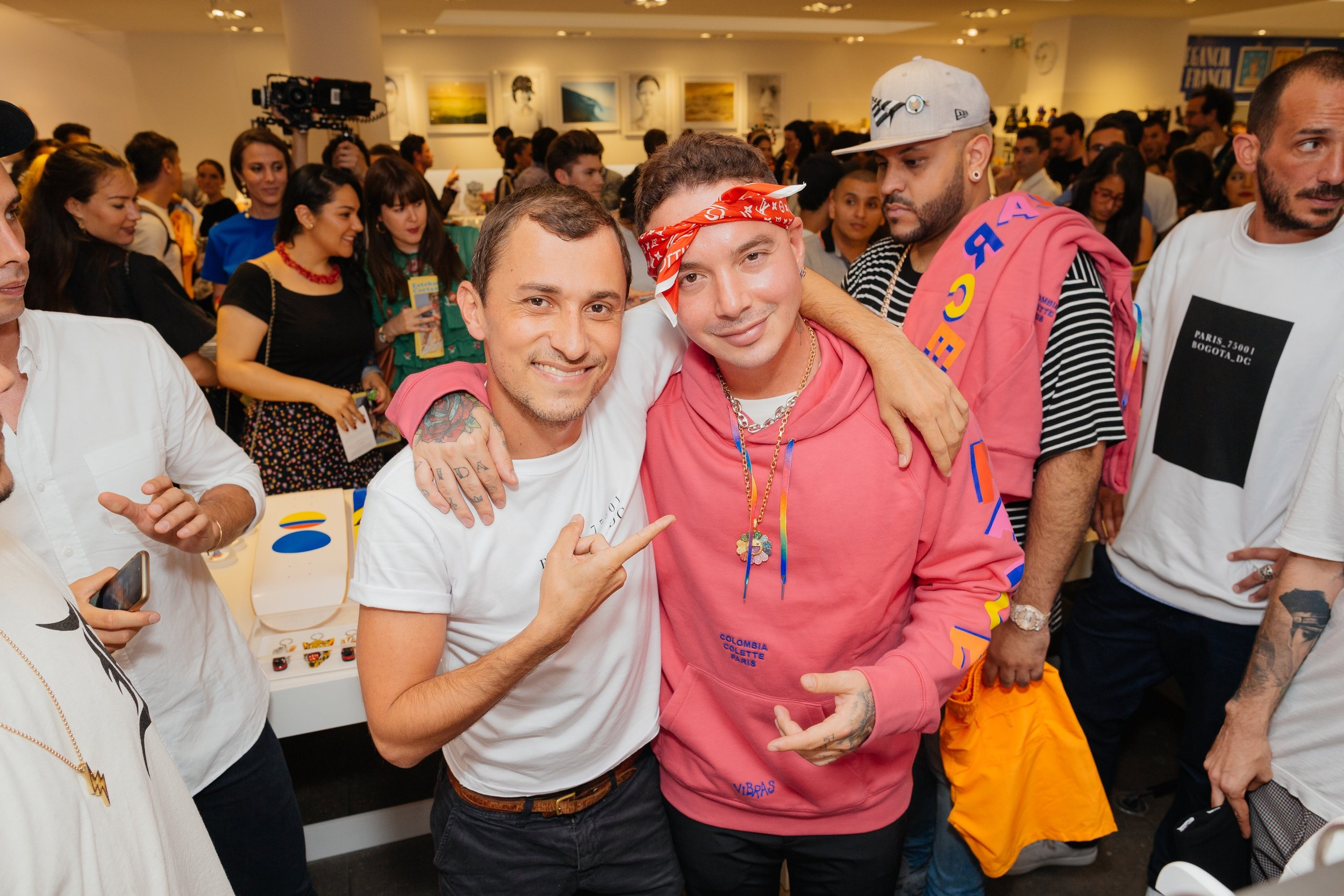 Esteban Cortazar pictured at the pop-up with Colombian reggaeton singer J Balvin.