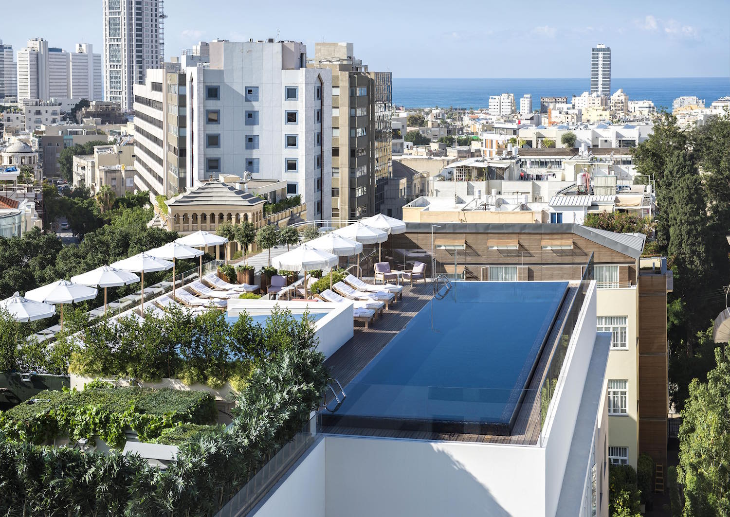 Panoramic Tel Aviv views from the rooftop pool at The Norman.