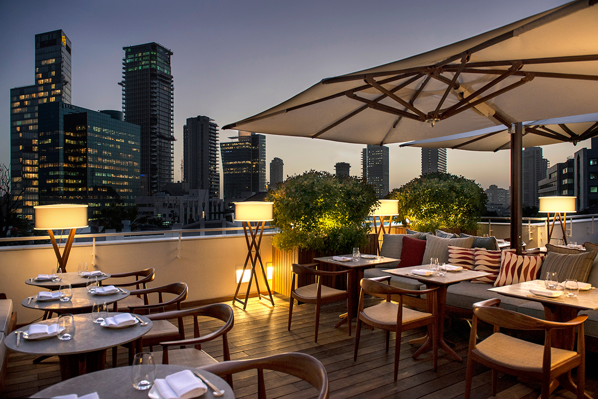 Taking in the Tel Aviv skyline from Dinings, one of the hotel's two eateries.
