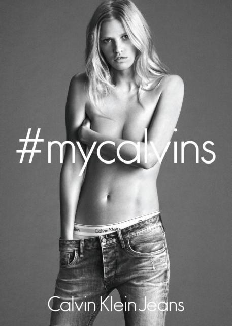 Call to action via the Calvin Klein Jeans campaign hashtag