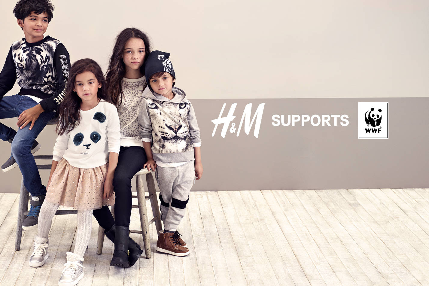 Campaign shot for H&M's Autumn 2016 Kids Collection which raised funds for WWF.