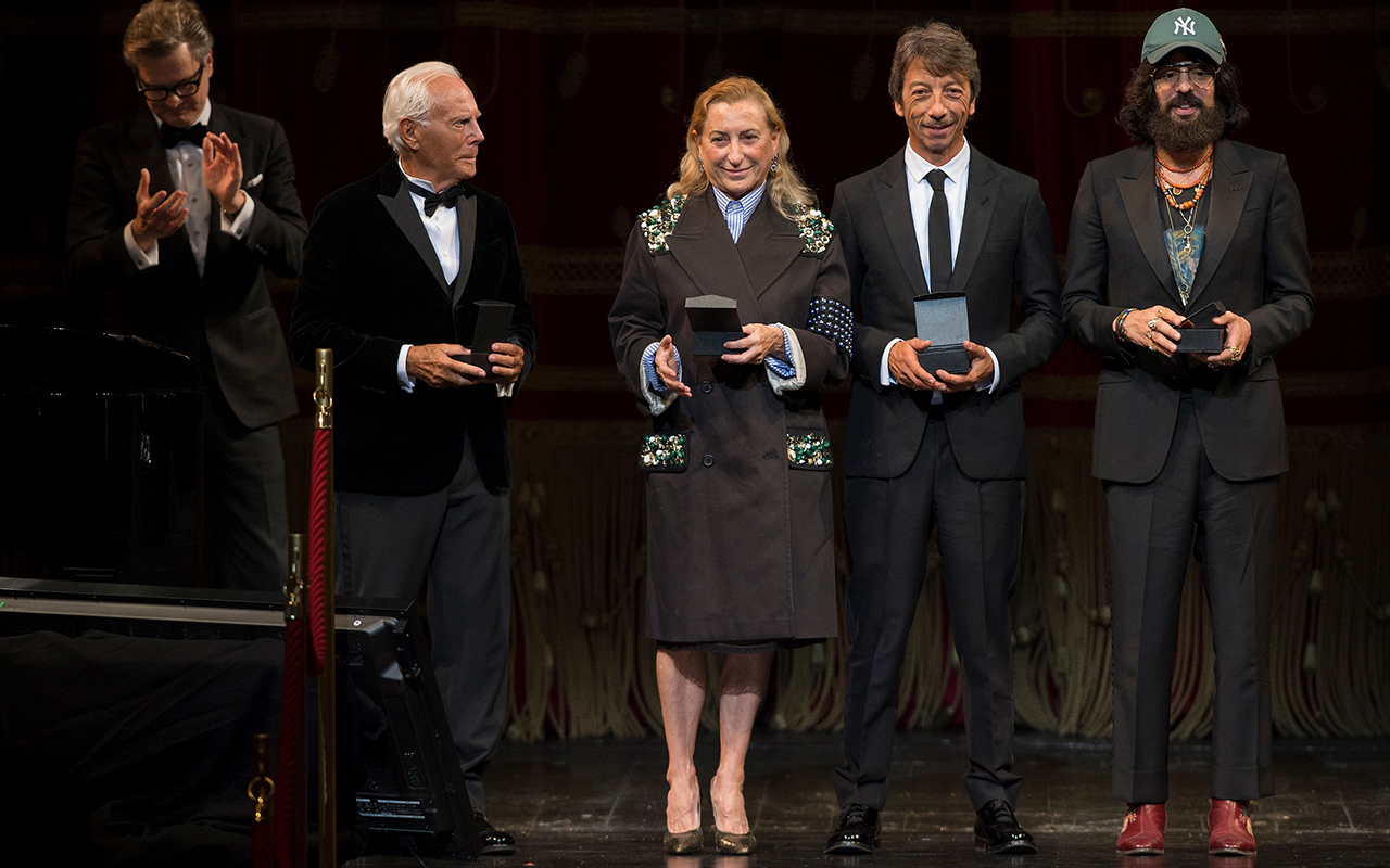 Award winners Giorgio Armani, Miuccia Prada, Valentino's Pierpaolo Piccoili and Gucci creative director Alessandro Michele / Photo: vogue.it