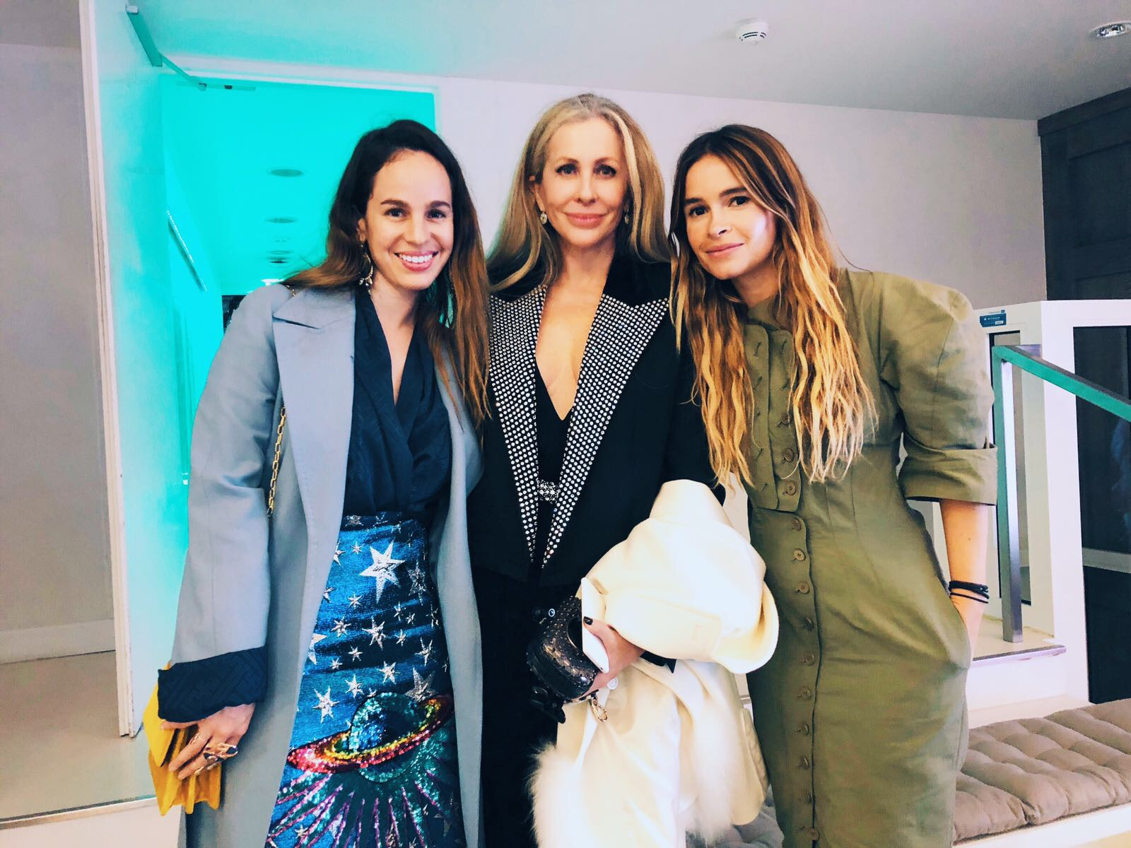 Carmen pictured with jewelry designer Daniela Villegas and Fashion Tech Lab founder Mira Duma at Monday's FTL launch event in Paris