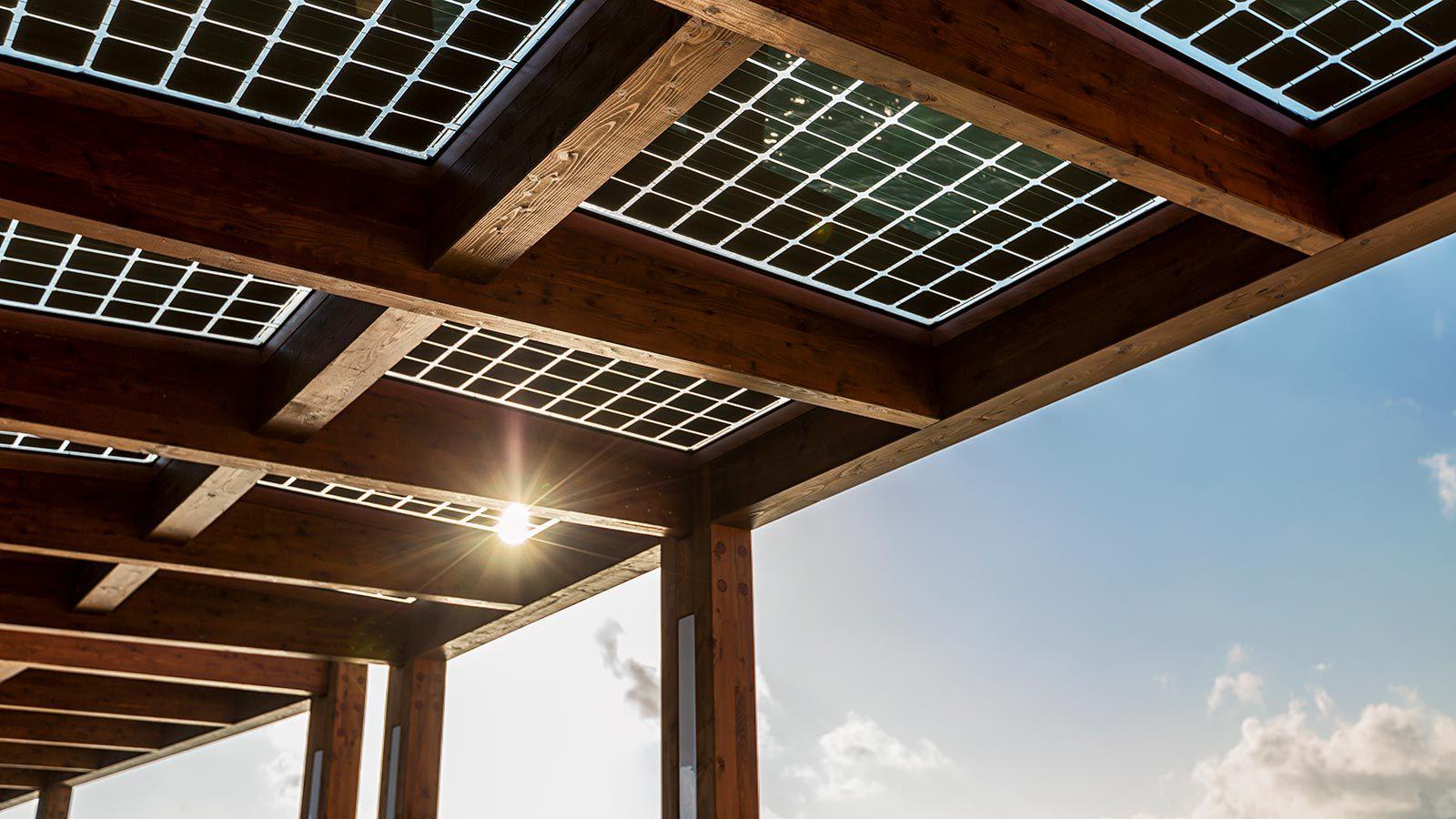 Solar panels installed at the Hurawalhi Island Resort in the Maldives