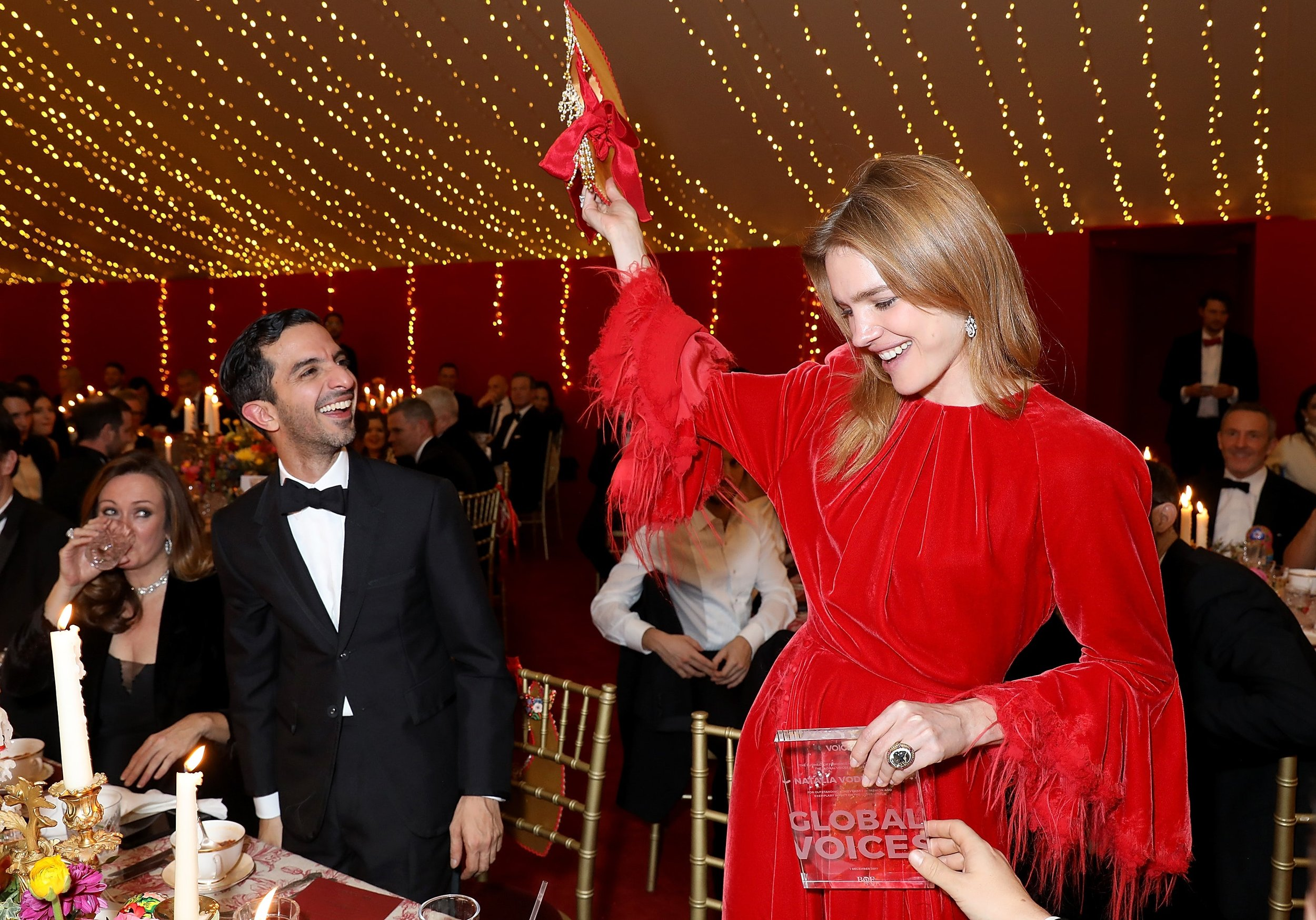 BoF founder Imran Amed and Natalia Vodianova with her Global VOICES 2017 Award at the gala dinner /Photo: Darren Gerrish/Getty Images.
