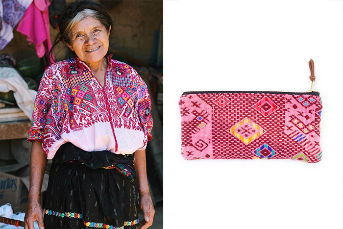 Traditional woven huipils worn by Mayan women in Guatemala are repurposed into one-of-a-kind bags and cases.