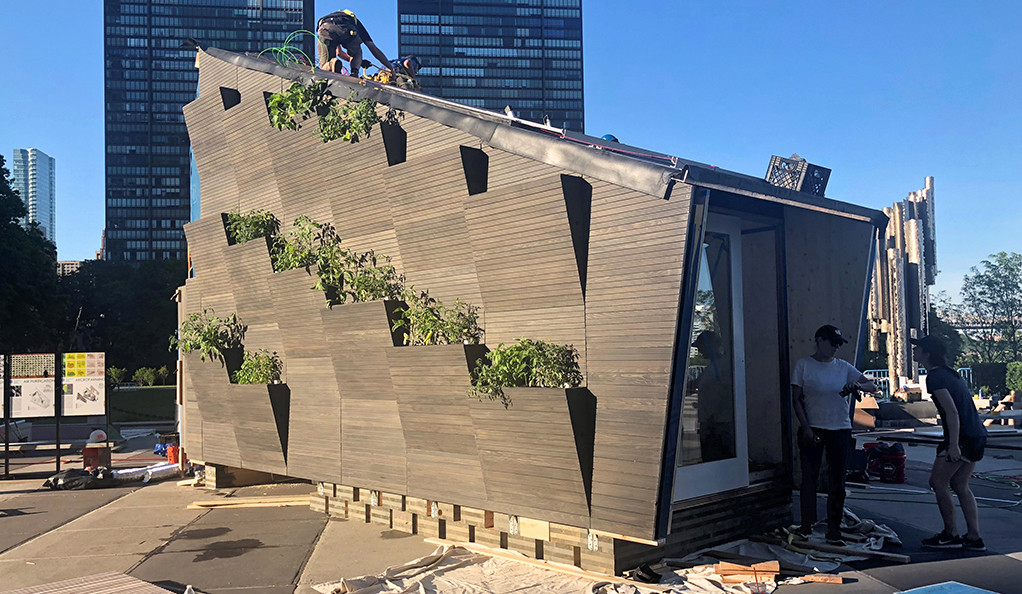 The Ecological Living Module or 'tiny house' currently on view in New York's UN Plaza.