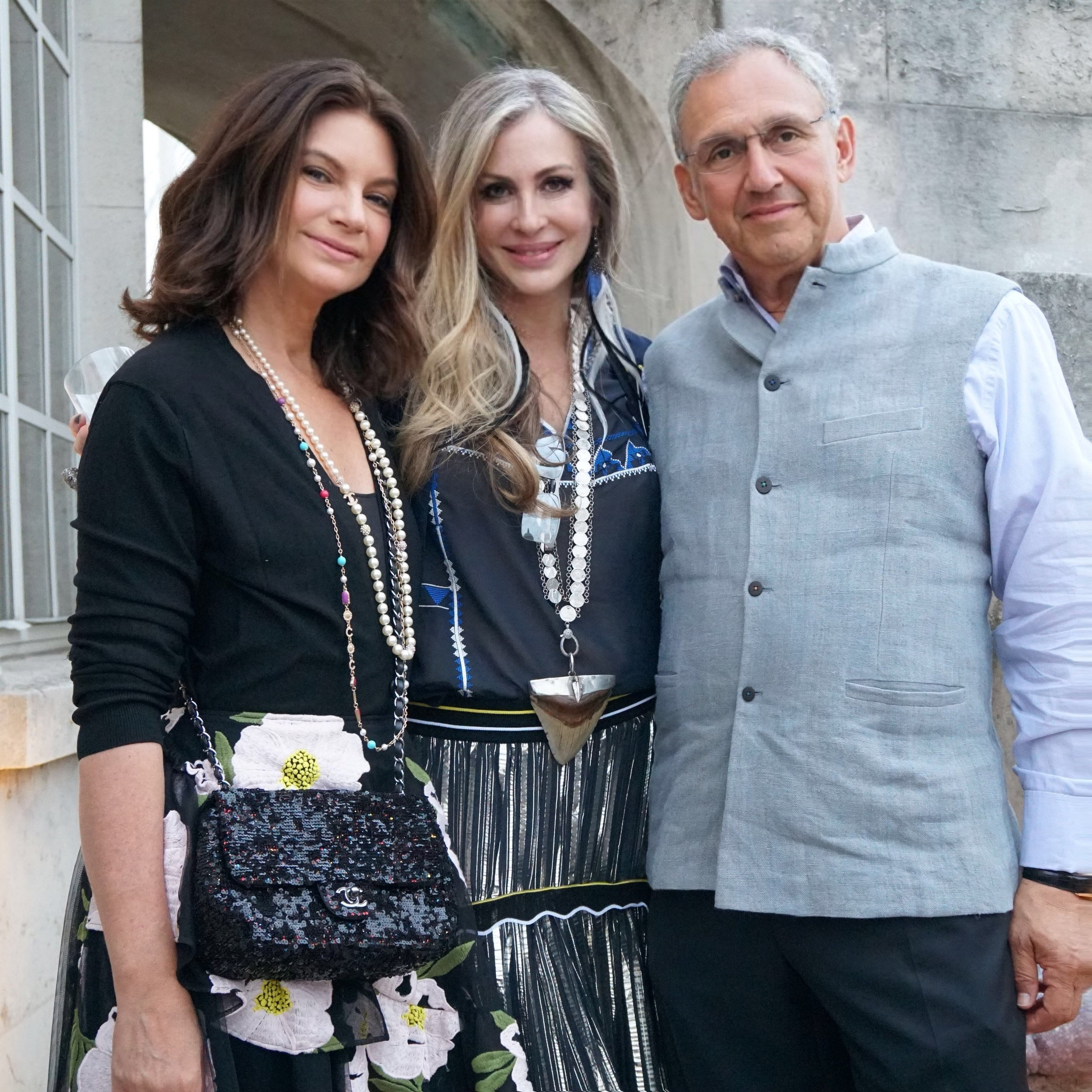 Carmen with friends and former Net-a-Porter colleagues Dame Natalie Massenet and Mark Sebba.