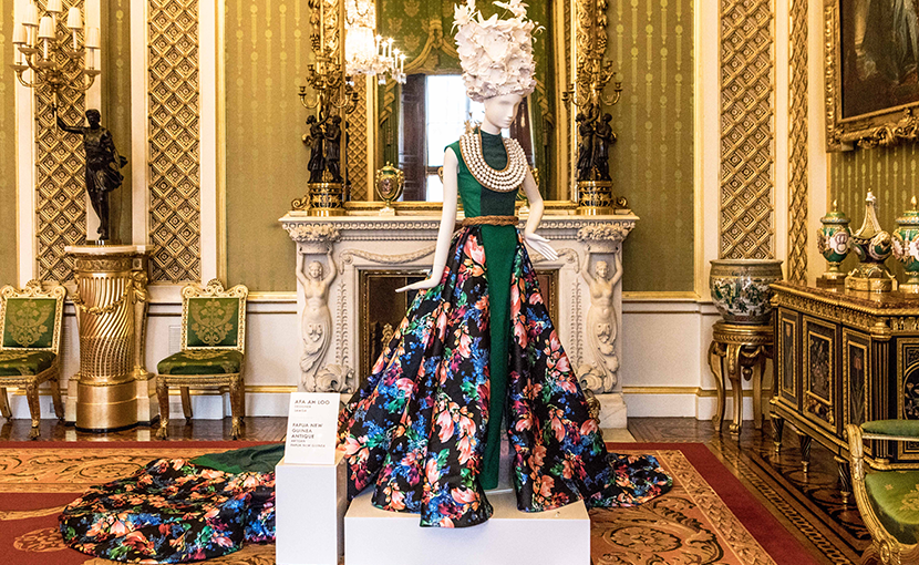 One of the Commonwealth Fashion Exchange Project designs showcased at a special reception at Buckingham Palace during London Fashion Week in February / Photo:  Sean Ebsworth Barnes.