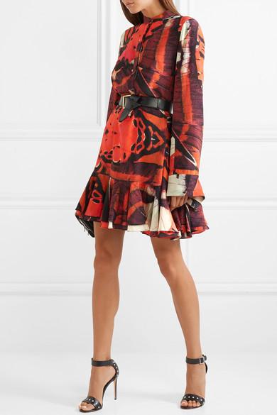 ALEXANDER MCQUEEN  Fluted Printed Silk Crepe De Chine Mini Dress  £1,790