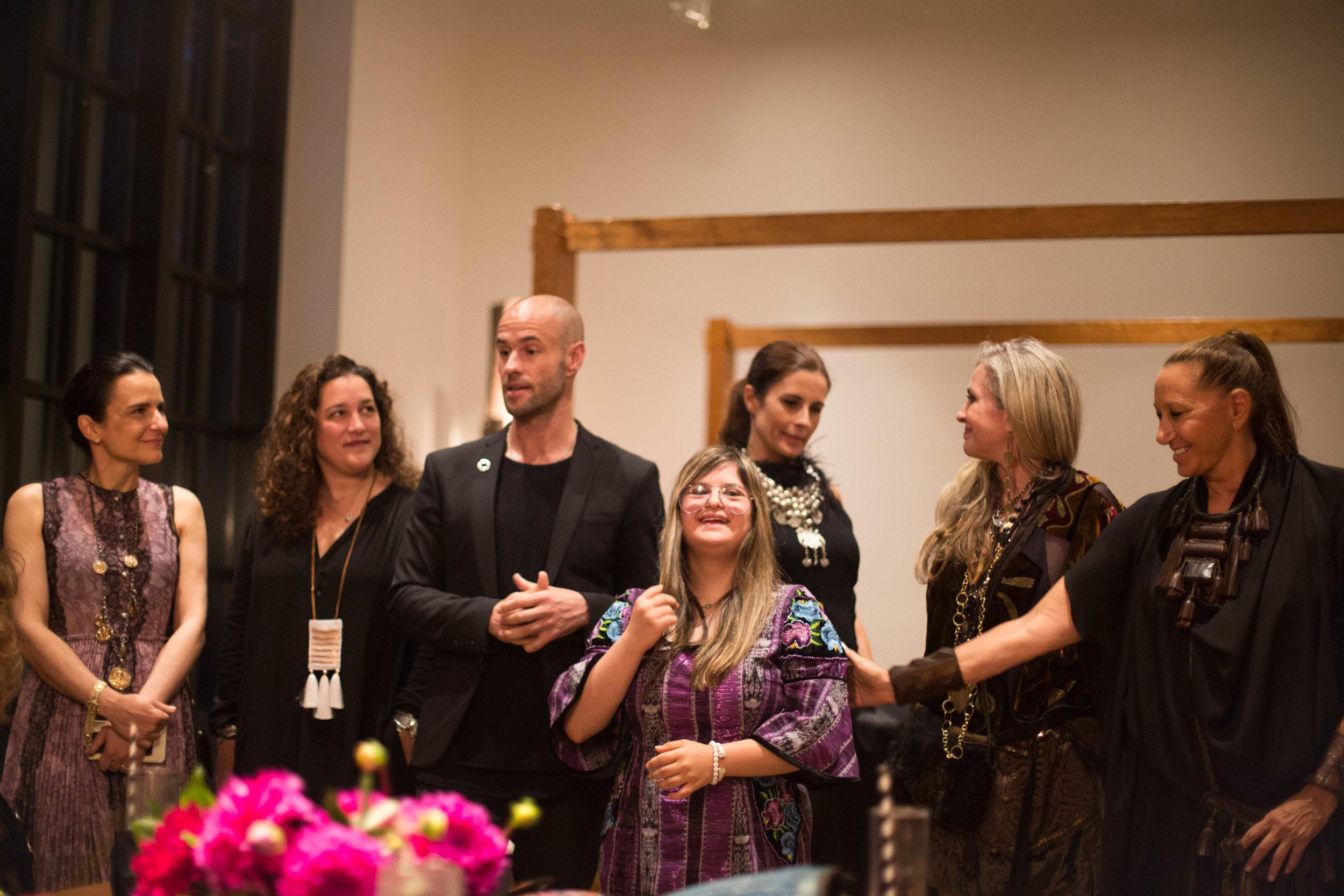 L-R: Marianne Hernandez, Celina de Sola, Cameron Saul, Isabella Springmuhl, Livia Firth, Carmen Busquets, Donna Karan / Photo: Charlie Johnson.