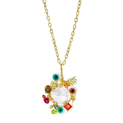Captain James Cook necklace - 18KYG, rock crystal quartz, chrysoberyl, emeralds, rubies, sapphires, diamonds and glass eyes.