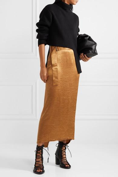 ANN DEMEULEMEESTER  Wrap-Effect Belted Crinkle-Satin Midi Skirt  £570