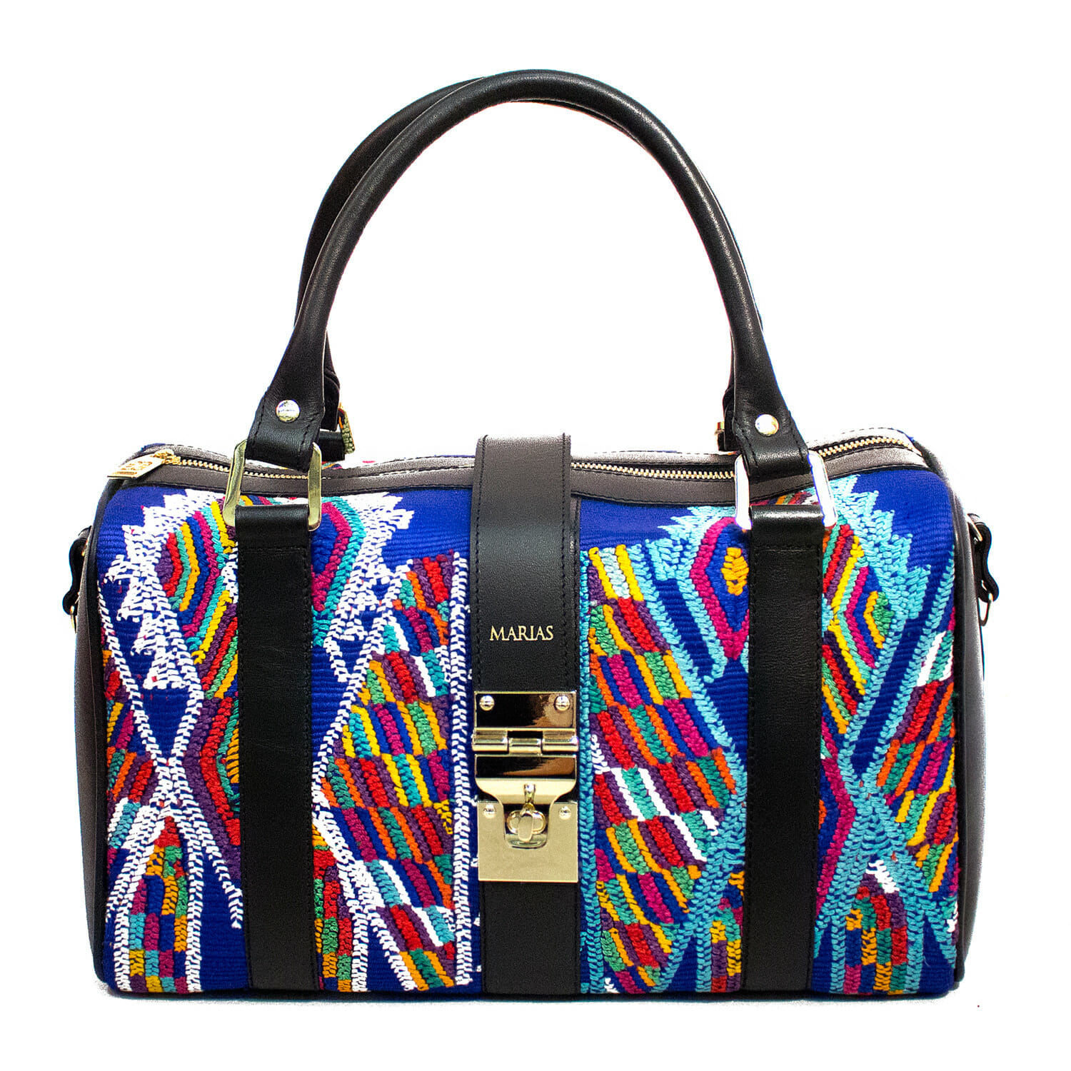 Part of the Technicolor collection, the Dante barrel bag mixes unique Mayan patterns and textures with leather.