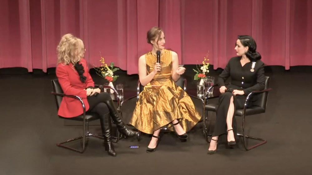 Liz Goldwyn in conversation with adult film star Nina Hartley and burlesque's Dita Von Teese.