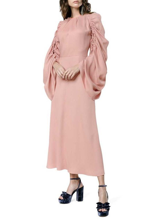 ROKSANDA  Silk Midi Dress With Ruched Sleeves  Rental Price £280