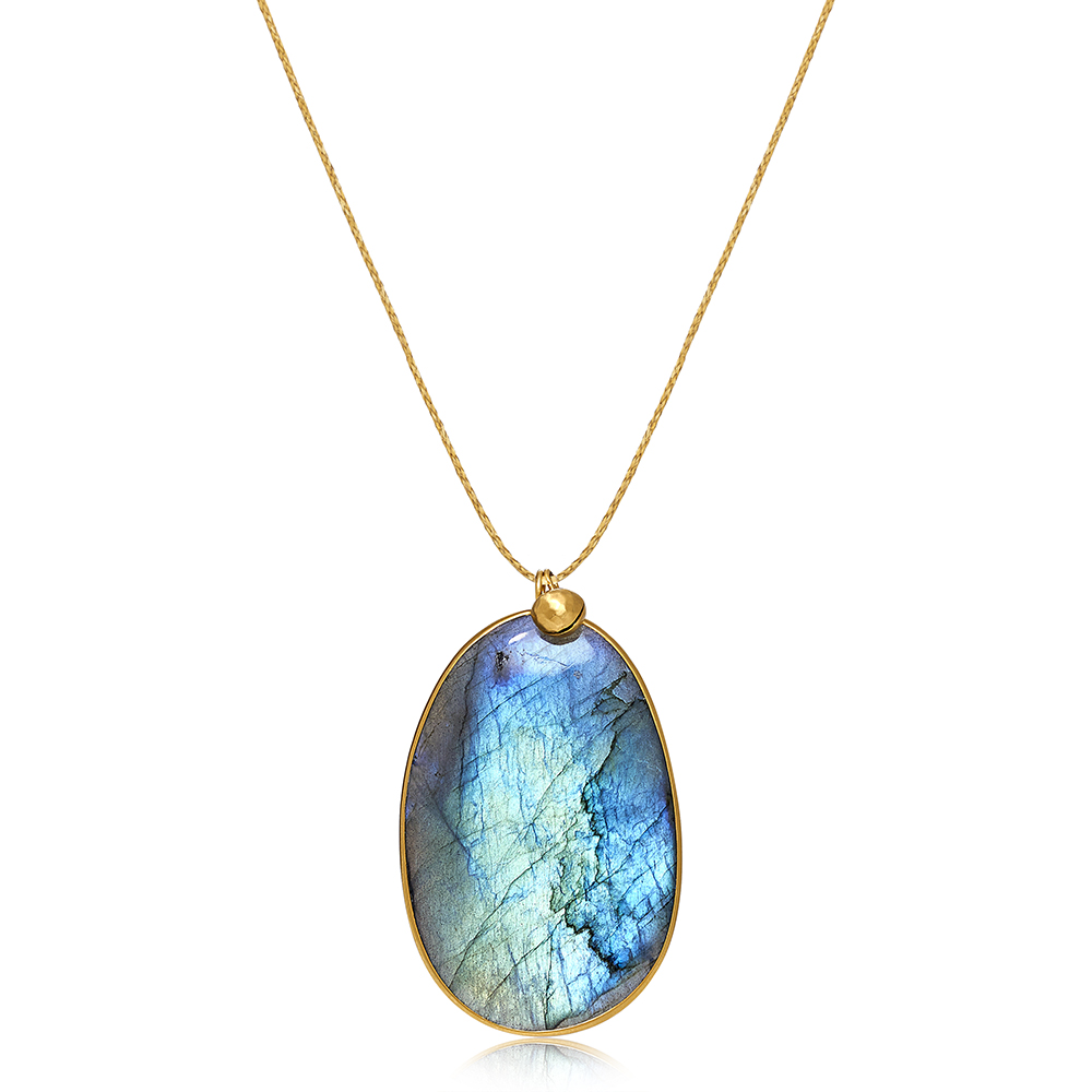 Large Storm Pendant crafted from 18K gold with labradorite.