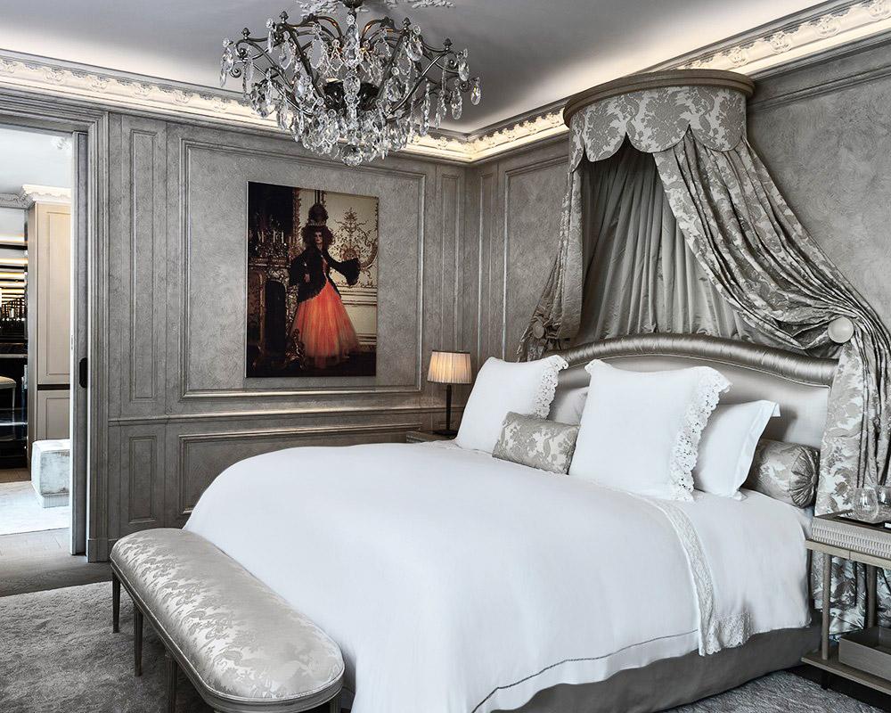 Bedrooms feature baldachin beds.