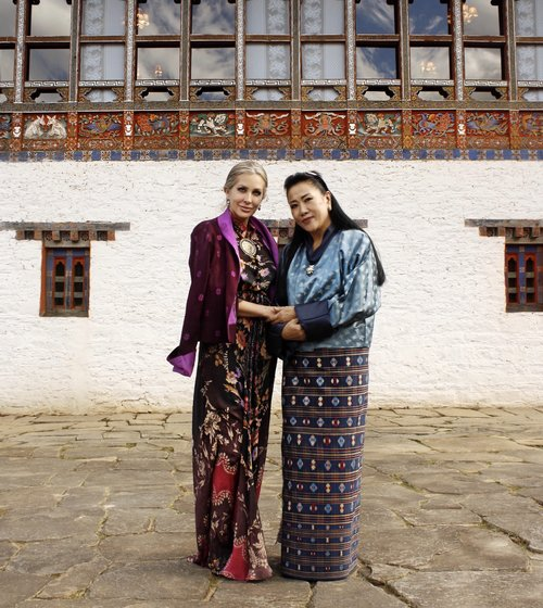 In Bhutan with her majesty the Queen Mother, who I am working with on a number of initiatives to promote local artisans.