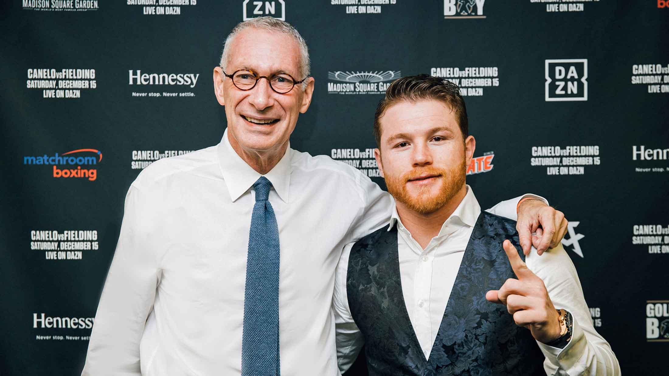 John Skipper with Mexican boxer Canelo Alvarez, who has signed an 11-fight, $365 million contract with DAZN / Photo: Amanda Westcott/DAZN.