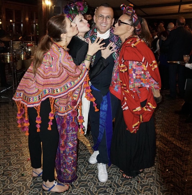 CFDA President & CEO Steven Kolb with Livia Firth, Carmen and Donna Karan, wearing traditional Mayan dress during their recent trip to Guatemala.