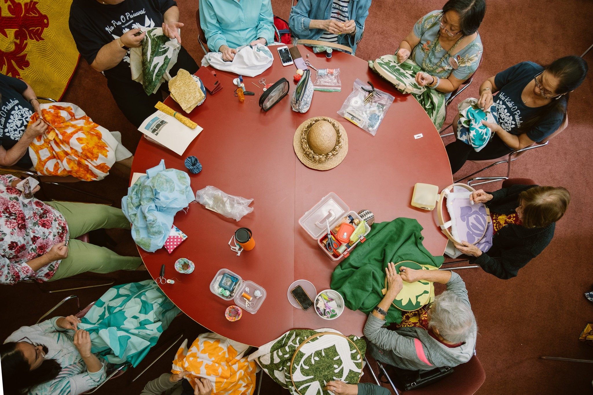 """""""We call ourselves a family"""" - Serrao leads a group of women who have been quilting together since 1988 / Photo: Josiah Patterson."""