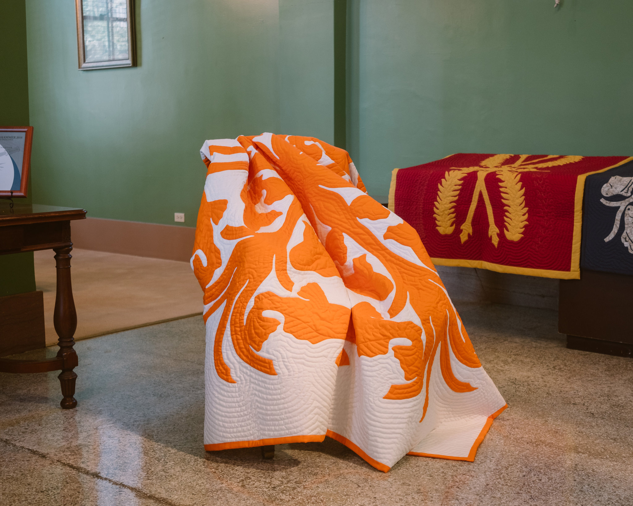 One of the Hawaiian quilts featured by Loewe at this year's Salone del Mobile in Milan / Photo: Josiah Patterson.