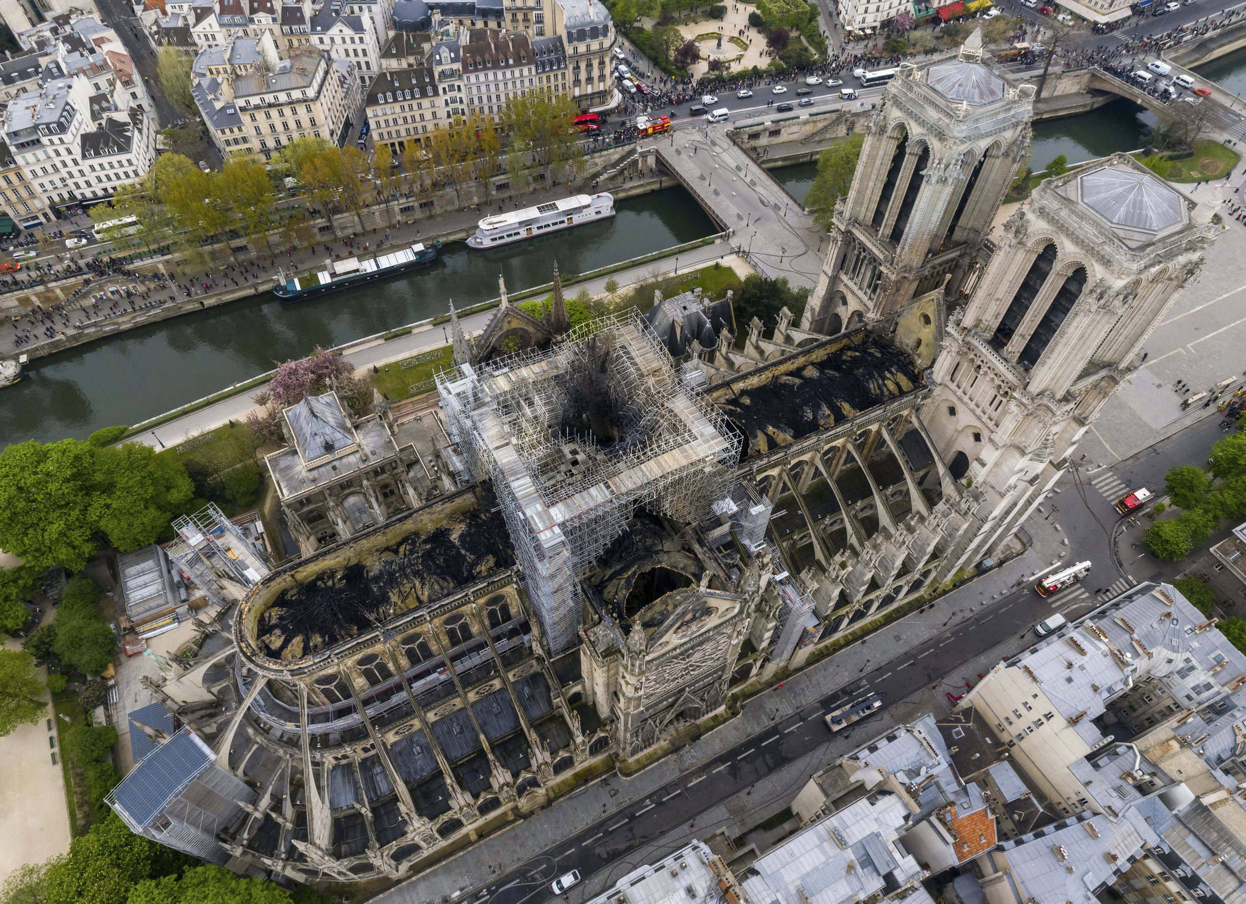 An aerial shot of the fire damage to Notre Dame cathedral in Paris / Photo: Gigarama.ru via AP.