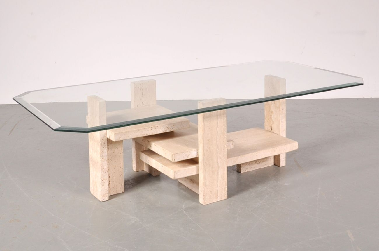 Sculptural Travertine Coffee Table by Willy Ballez, 1980s.