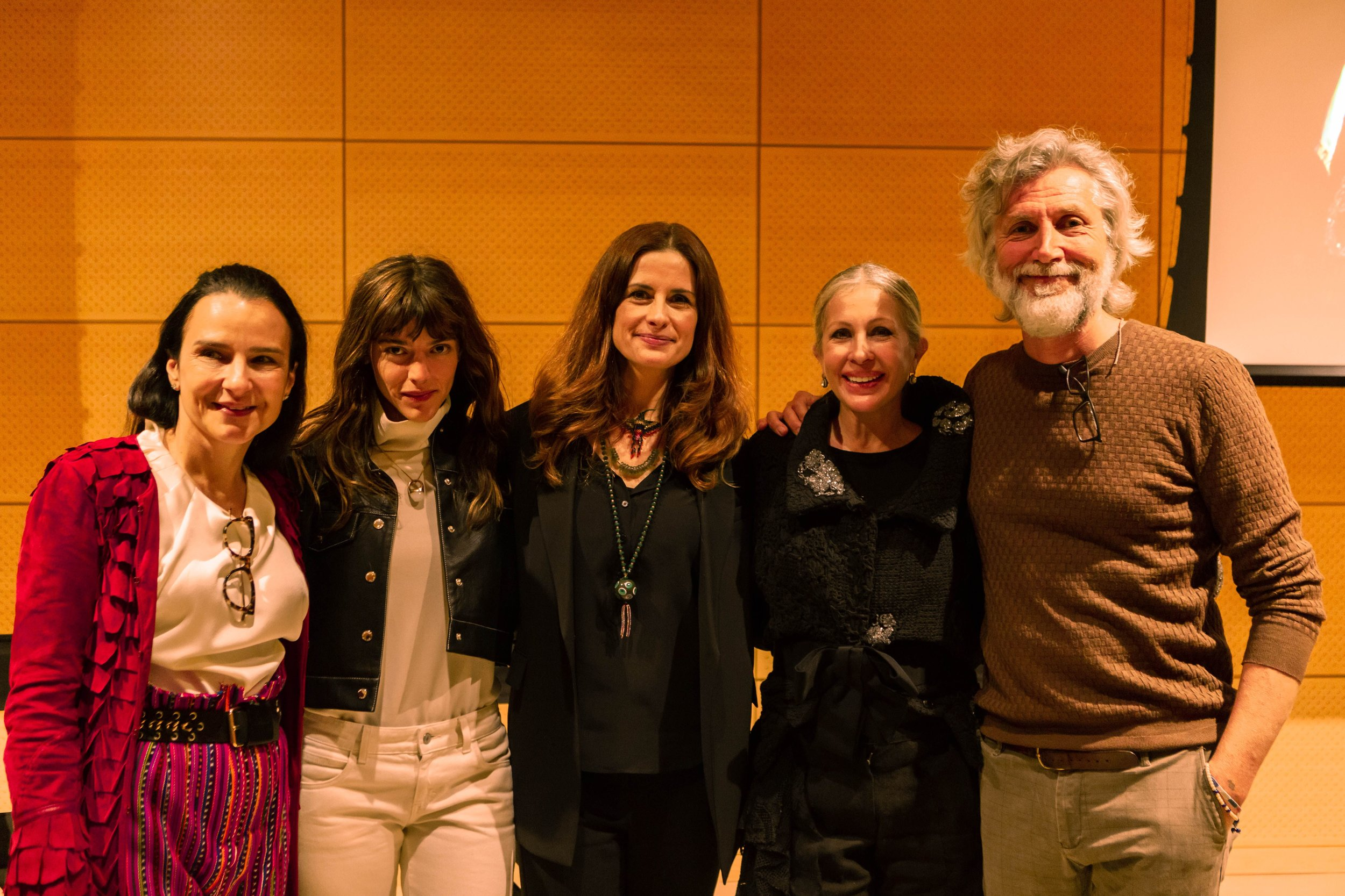 Marianne, Livia and Carmen with actress and model Calu Rivero and actor and director Michele Bevilacqua.