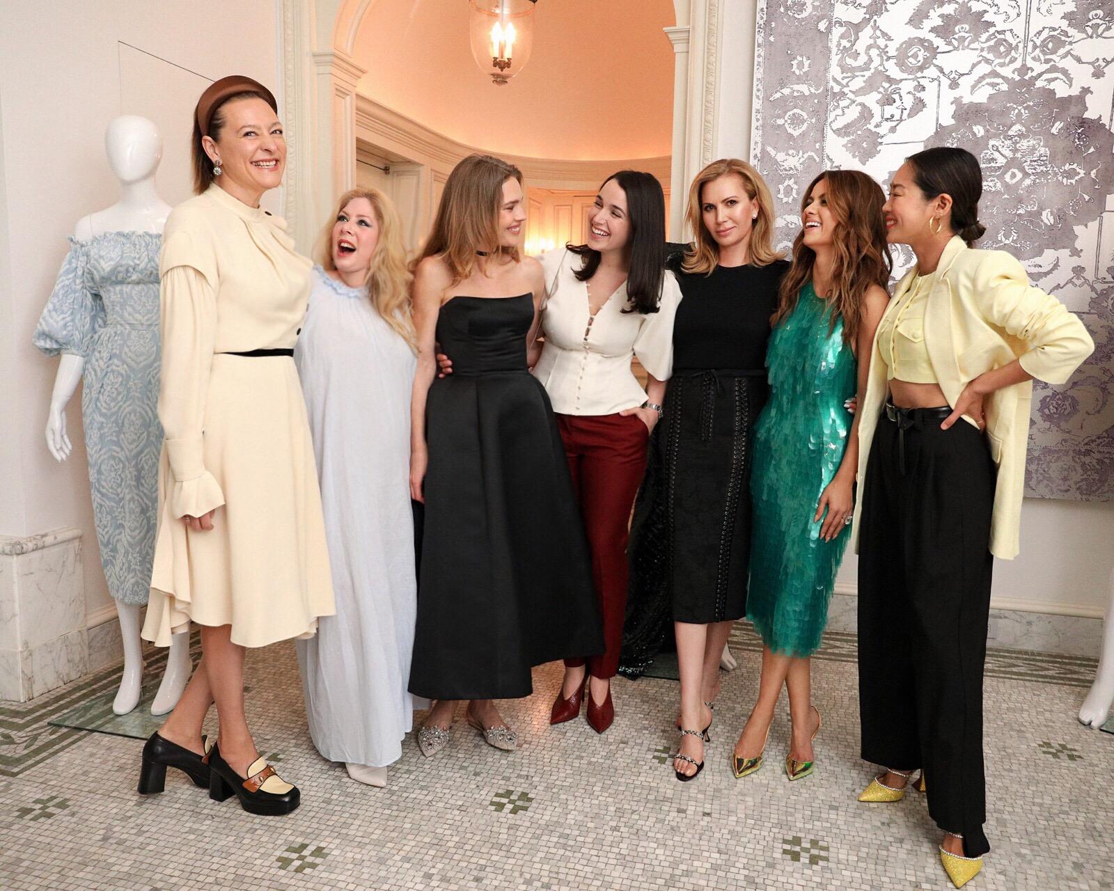L-R: Masha Fedorova, Shanin Molinaro, Natalia Vodianova, Julia Gudish Krieger, Inga Rubenstein, Natasha Poonawalla, and Aimee Song.