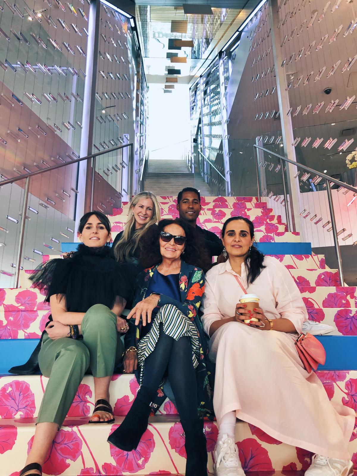 Carmen, pictured here with Tania Fares, Diane von Furstenberg, Hassan Pierre and Sheikha Al-Mayassa bint Hamad Al-Thani, saw the brand's new collection firsthand when she visited the Fashion Trust Arabia Pop-up at DVF's HQ.