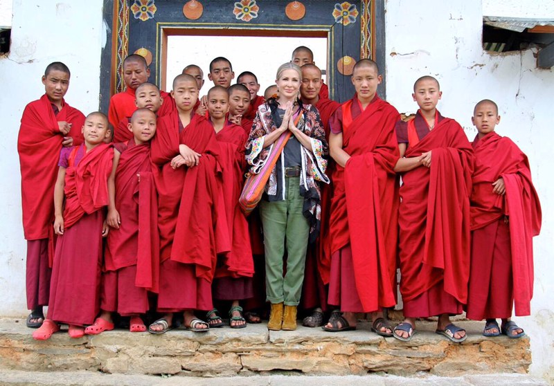 In Bhutan with a group of young monks.