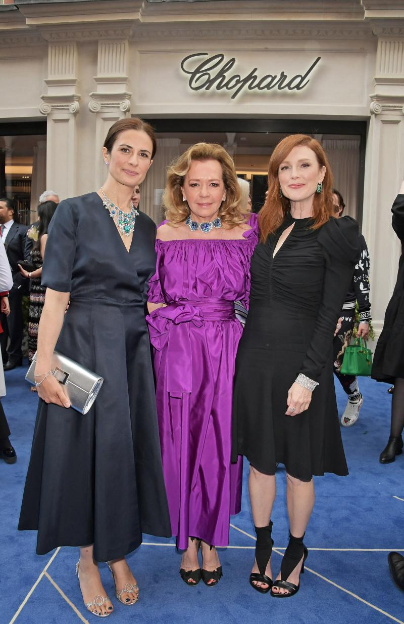 Eco-Age's Livia Firth with Chopard co-president Caroline Scheufele and Julianne Moore.