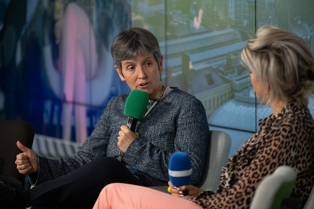 Commissioner of London's Metropolitan Police Cressida Dick discussing Lessons on Leadership with entrepreneur Martha Lane Fox.