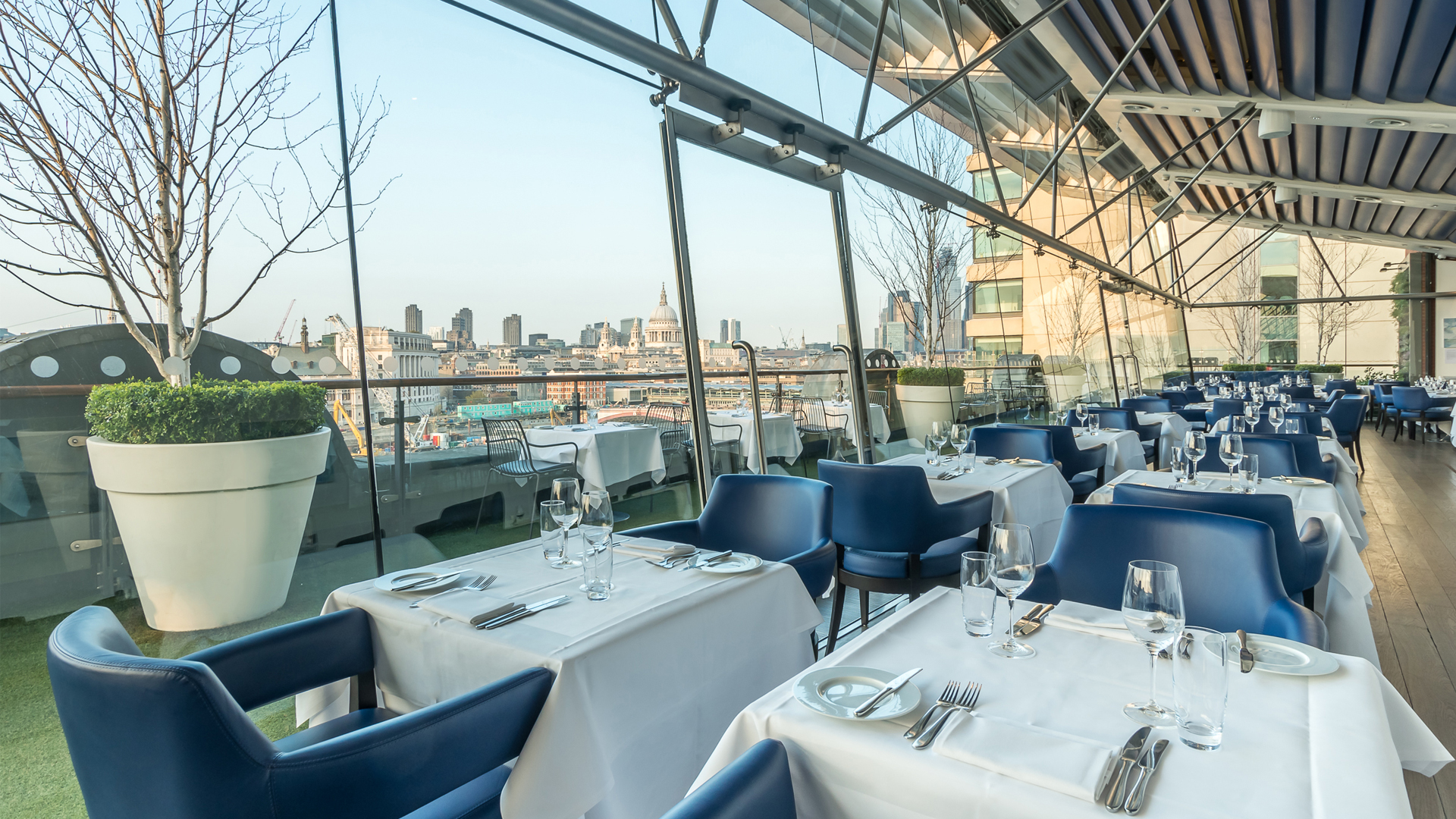 The OXO Tower terrace boasts panoramic views of the London skyline.