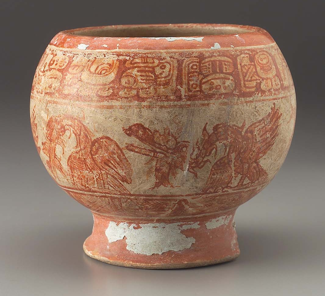 Holmul-style footed bowl with Primary Standard Sequence rim text naming an elite person from the eastern Peten region of Guatemala. (Photo: mfa.org)